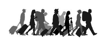 Passageiros com a silhueta de passeio do vetor do aeroporto da bagagem Os viajantes com muitos sacos vão em casa ilustração stock