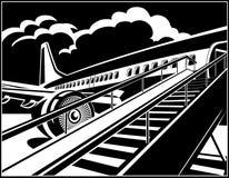 Passageiros de espera do avião de passageiros moderno do jato ilustração royalty free
