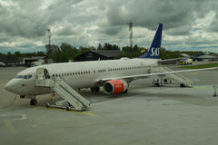 Passageiros de espera do voo vazio do SAS Imagens de Stock Royalty Free