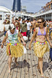 Passageiros depois que a farinha e o ovo lutam. Fotos de Stock Royalty Free