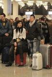 Passageiros encalhados aeroporto 053 Fotos de Stock Royalty Free