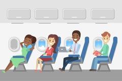 Passageiros no plano ilustração do vetor