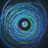 Passagem da esfera através dos anéis ilustração do vetor