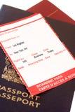 Passagem de embarque de Los Angeles, New York imagens de stock royalty free