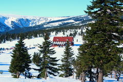 Passagem de Karkonoska no inverno Foto de Stock Royalty Free