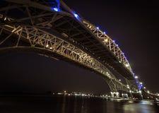 Passagem fronteiriça da ponte da água azul Imagens de Stock
