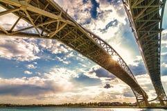 Passagem fronteiriça da ponte de Bluewater, Sarnia Ontário Canadá Fotos de Stock Royalty Free
