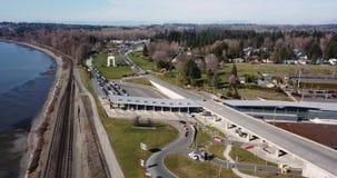 Passagem fronteiriça do americano canadense de Blaine da vista aérea vídeos de arquivo