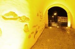 Passagem iluminada em Sibiu Fotos de Stock Royalty Free