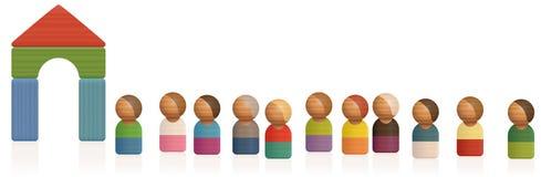 Passagem Toy Figures Waiting Line da admissão da fila Imagens de Stock