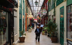 Passagen Brady är en av de berömda parisiska passagerna, Frankrike Royaltyfria Foton
