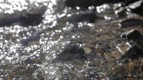 Passagens da água do córrego através das pedras filme