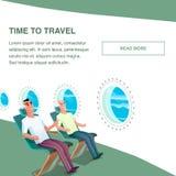 Passager d'avion à l'intérieur d'écouteur d'usage de cabine illustration libre de droits