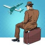 Passagerare den väntande på avvikelsen för flygplats Fotografering för Bildbyråer