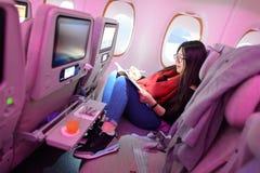 Passagerare för ekonomiklass för emiratflygbuss A380 Arkivfoton