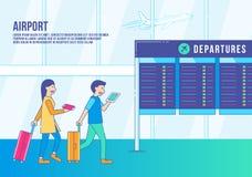 Passagerare i vektor för flygplatsterminal stock illustrationer