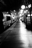 Passagerare längs drevet på Gare du Nord i Paris, Frankrike Royaltyfri Bild