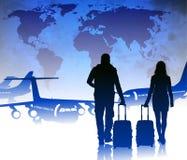 Passagerare med bagage i flygplats stock illustrationer
