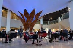 Passagerare på Auckland den internationella flygplatsen Royaltyfria Foton