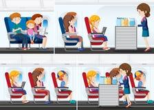 Passagerare på flygplanet royaltyfri illustrationer