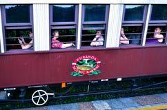 Passagerare på Kuranda den sceniska järnvägen i Queenland Australien royaltyfri fotografi
