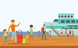 Passagerare som stiger ombord det stora skeppet, del av folk som tar olik transport, skriver serie av tecknad filmplatser med lyc royaltyfri illustrationer