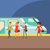Passagerare som stiger ombord ett drev på plattformen, del av folk som tar olik transport, skriver serie av tecknad filmplatser royaltyfri illustrationer