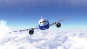 Passagerareflygplanflyg över den molniga himlen Modern trafikflygplanresa 3d framför vektor illustrationer
