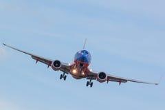 Passagerareflygplanlandning Fotografering för Bildbyråer