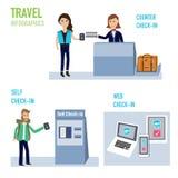 Passagerareincheckning på flygplatsen med räknare, själv och rengöringsduk V Arkivbild