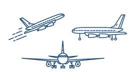 Passagerarenivå eller borgerligt flygplan som tar av eller stiger och står på jordning som dras med konturlinjer på vit stock illustrationer