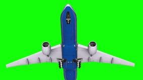 Passagerarenivå i himlen på en grön skärm stock illustrationer
