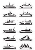 Passagerareskepp och yachter stock illustrationer