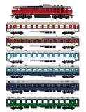Passagerarewaggons och lokomotiv för drev fastställda Royaltyfri Fotografi