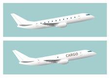 Passagerarflygplan- och lastflygplan Fotografering för Bildbyråer