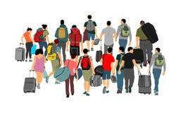 Passagers avec le bagage marchant à l'illustration de vecteur d'aéroport Les voyageurs avec beaucoup de sacs rentrent à la maison illustration de vecteur