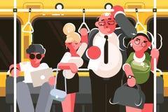 Passagers dans la voiture de souterrain illustration libre de droits