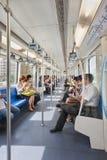Passagers dans une voiture de souterrain, Changhaï, Chine Photo libre de droits