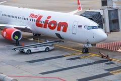 Passagers de attente d'avions thaïlandais de Lion Air chez Don Muang Inter Images libres de droits