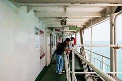 Passagers sur un car-ferry Image libre de droits