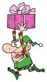 Passages de l'elfe de Santa heureuse avec le cadeau illustration de vecteur