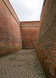 Fortress passageway. Passageway into the Alba-Iulia Fortress in Romania. Made of red bricks Royalty Free Stock Photography