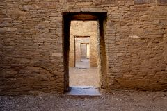 Passageway through ancient ruins at Chaco Culture National Historical Park, a UNESCO World Heritage site stock photography