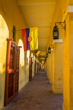 Passageway and Flags Royalty Free Stock Photos