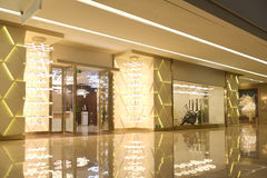 Passageway and lighting shop in commercial building. Lit by led light belt Royalty Free Stock Photo