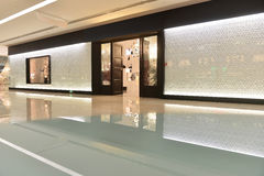 Passageway and lighting shop in commercial building. Lit by led light belt Stock Photos