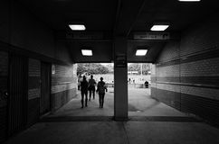 Passageway to sports arena in black and white Royalty Free Stock Photo