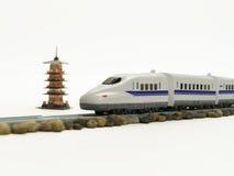 Passaggio del treno ad alta velocità attraverso la pagoda leggendaria cinque Immagine Stock Libera da Diritti