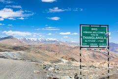 Passaggio della La di Tanglang in Ladakh Fotografia Stock