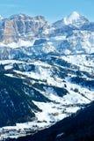 Passaggio di Gardena di inverno di mattina in dolomia del Tirolo del sud, Italia. Immagine Stock Libera da Diritti